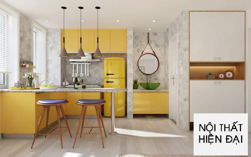 Thể hiện màu vàng sang trọng trong thiết kế nội thất căn hộ Rickstar - Chị Trâm