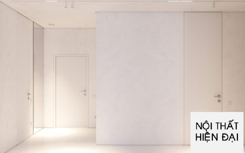 Thiết kế nội thất căn hộ màu trắng theo phong cách hiện đại phương tây 80m2