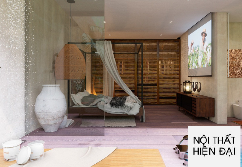 Phong cách nhiệt đới một thiết kế nội thất phòng ngủ.