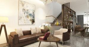 Thiết kế nội thất phòng khách hiện đại liền bếp sang trọng